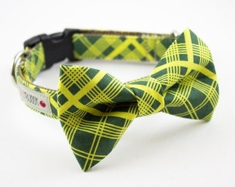 Green Vintage Plaid Dog Bow Tie Collar