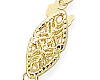 14K Solid Yellow Gold Filigree Oval Safety Clasp