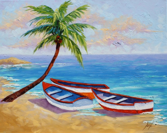 Boat Oil Painting Tropical Beach Signed Canvas