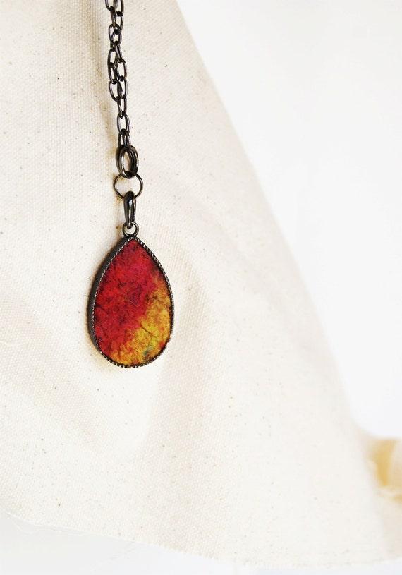 Terracotta Mustard Red Wool Silk Drop Shaped Pendant. Gift under 30