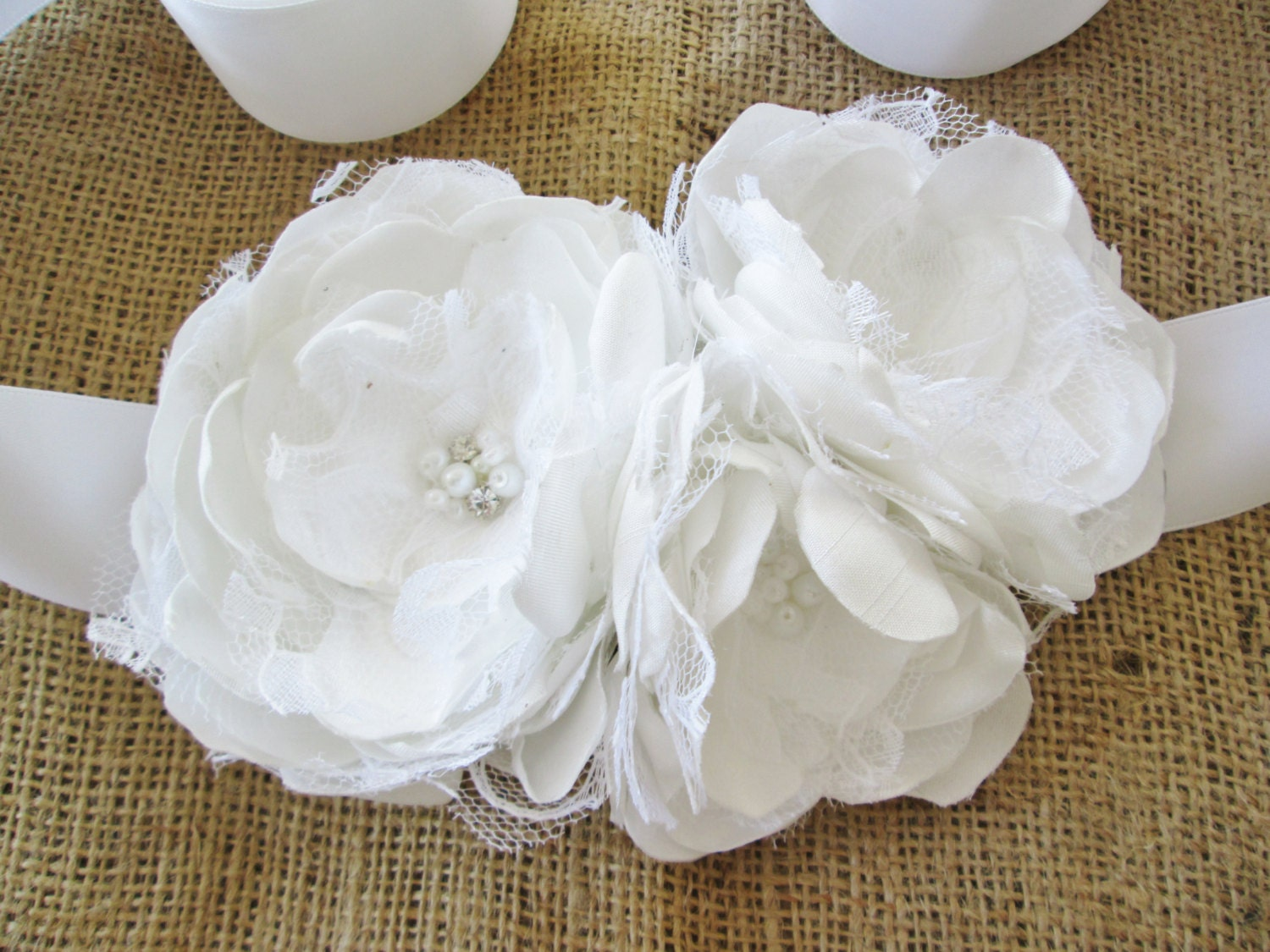 Bridal dress sash White fabric flower and lace by