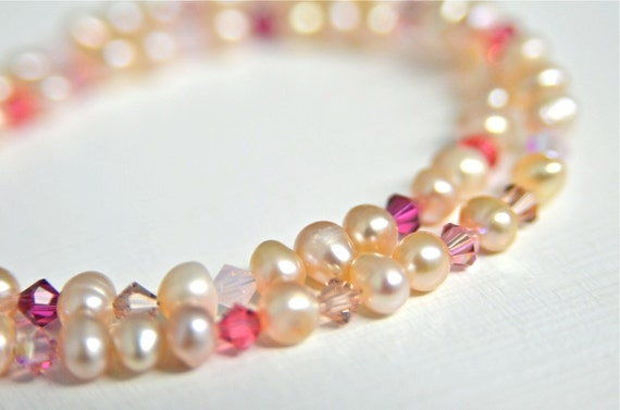 Pink Pearl Double Strand Bracelet with Dark Pink, Petal Pink and Fuschia Crystals Handmade in Maine from North Atlantic Art Studio