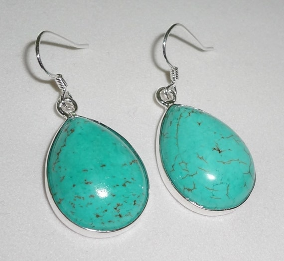"CLEARANCE, Blue Turquoise Pierced Earrings .925 Sterling Silver, 11 grams, 1 3/8"" long"