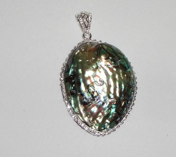 CLEARANCE, HUGE Abalone Shell Pendant, 925 Sterling Silver, 27 grams, 3 inches tall