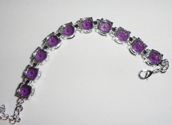 "CLEARANCE Purple Amethyst gemstones Bangle Bracelet, SOLID Sterling Silver, 8"" adjustable with Lobster Clasp"