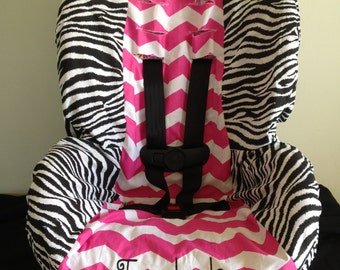ZEBRA & PINK CHEVRON toddler Car Seat Cover with free name personalization
