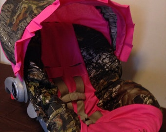 MOSSY OAK CAMO with  Pink car seat  Cover and Canopy/Visor with Free Monogram