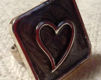 Black and Silver Adjustable Ring with Heart