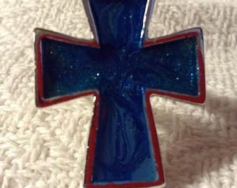 Sparkling Blue Ombre Cross Adjustable Ring