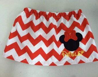 Red Chevron Minnie Personalized Skirt