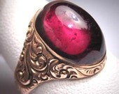 Antique Garnet Ring Georgian Victorian Rose Gold Wedding - Georgian