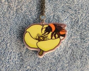 Arctic Bumblebee acrylic charm necklace