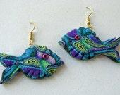 3D Fish Earrings in Purple, Green, Blue & White Swirly Polymer Clay