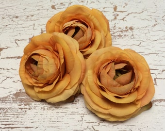 Silk Flowers - THREE Yellow Orange Silk Ranunculus - 3.5 Inches - Artificial Flowers