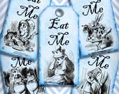 Blue Eat Me Alice in Wonderland Favor Tags Digital Collage Sheet DIY Weddings Favor Tags Printable Download  266