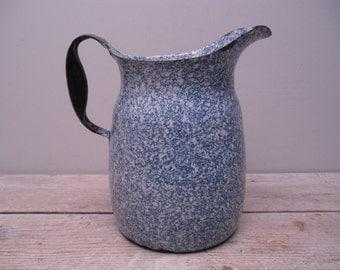 blue graniteware pitcher / enamelware / primitive farmhouse