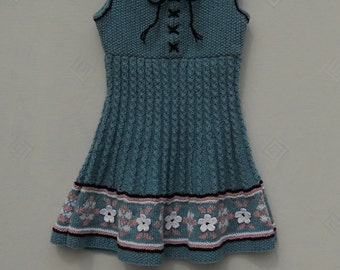 Dress/pinafore/tunic for a baby girl/toddler, hand knitted vintage Heidi style, age 1-2 years with Fairisle border