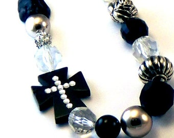 Black Side Cross Beaded Necklace