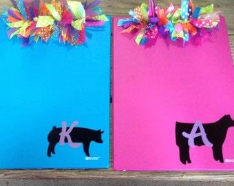 Personalized Stockshow/FFA Animal Ribbon Clipboard