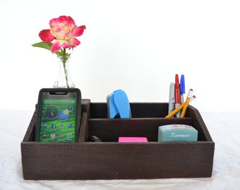 "ORGANIZER - ""Laurel"" - Wine Barrel Charging Station / Desk Organizer - 100% recycled"