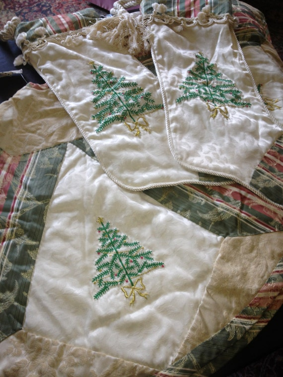 Vintage pair of stockings and tree skirt victorian style with