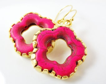 Fuchsia Pink Turquoise Flower Earrings With Vermeil Sterling Silver Hooks - Christmas