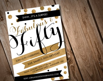 DIY  Fabulous and FIfty Birthday Invitation