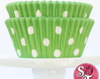 Lime Green GREASEPROOF Dot Baking Cups Cupcake Liners - Quantity 50