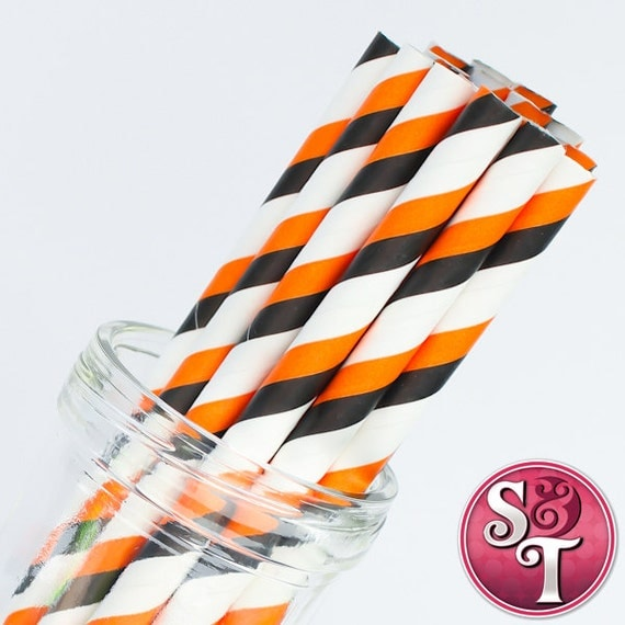 Stripe Black/Orange Party Paper Straws - Cake Pop Sticks - Pixie Sticks - Qty 25