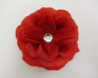 Red rose flower hair clip PERFECT FOR HEADBAND