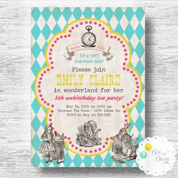 vintage alice in wonderland birthday invitation girls birthday party