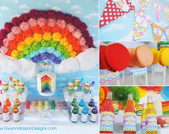RAINBOW Party Package Decoration Set - Rainbow of Fun Collection - Gwynn Wasson Designs PRINTABLES