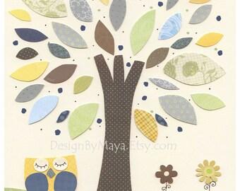 Nursery Decor, Baby nursery art, baby room, Children Room Art, owl nursery, green, orange, tan, brown, baby art nursery