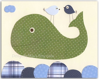 Nursery Whale Wall Art, Baby Boy Whale Nursery Decor, Children Room Art, Baby Whale Nursery In Green And Blue, Baby Whale Print For Childre