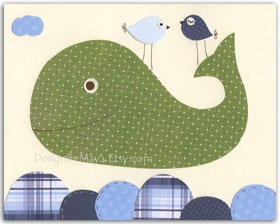 Diy Wall Art For Boy Nursery : Nursery whale wall art baby boy decor children