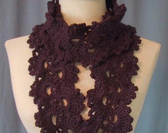 Lacy Scarf - Purple - Fashion Accessory - Hand Crocheted - Soft Acrylic Yarn - Handmade