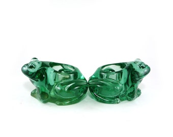 Frog Candle Holders, Set of 2 Green Glass Frogs