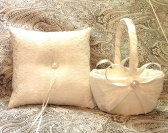 lace flower girl basket and pillow white or ivory custom made