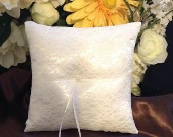 wedding ring bearer pillow custom made white lace on white