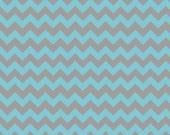 Riley Blake Fabric - Half Yard of Small Chevron in Aqua/Gray