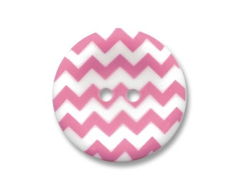 Riley Blake Carded Chevron Button Set of 4 in Hot Pink
