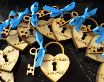 200 Heart and Skeleton Key Wedding Favors Love Lock Favors