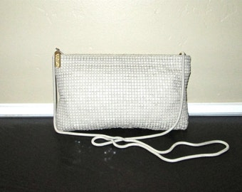Vintage 80s purse small taupe MESH METAL evening bag