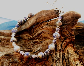 "Blue gray and white sodalite bracelet 8.5"" long semiprecious stone jewelry packaged in a colorful gift bag 993"