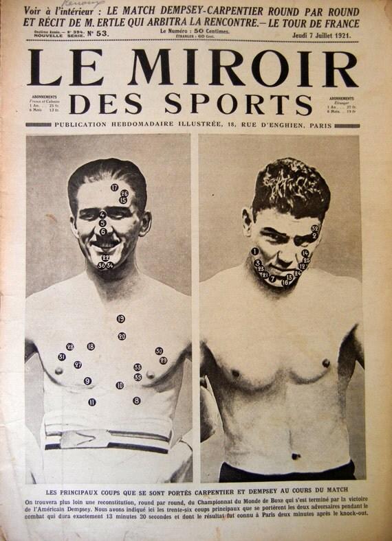 Vintage Sports Magazine, 1920s Le Miroir, Tour de France, Boxing ...