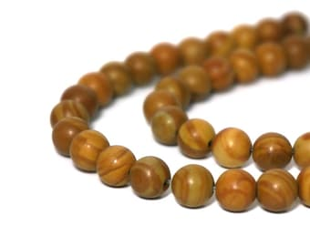 Tiger Jasper beads, 6mm round brown striped gemstone, Full strand 913S