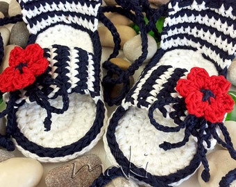 Crochet baby pattern - Baby sandals - Permission to sell finished items. Full of large pictures! PDF Pattern No. 121