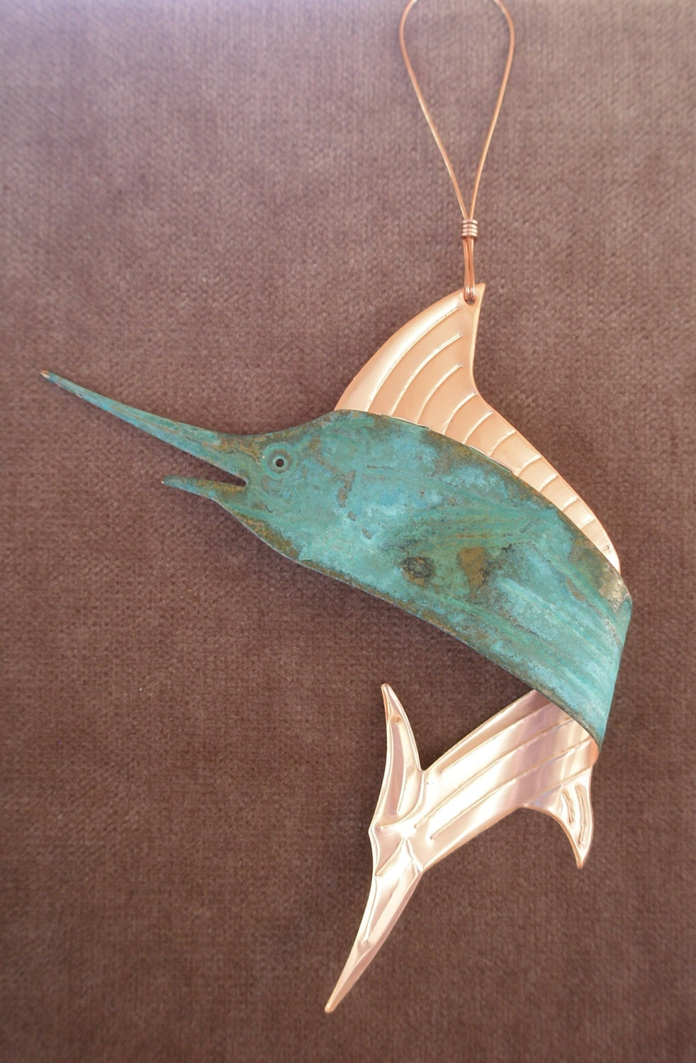SAILFISH SWORDFISH Marlin Copper Verdigris Ornament - Handcrafted in The Copper State (Arizona USA)