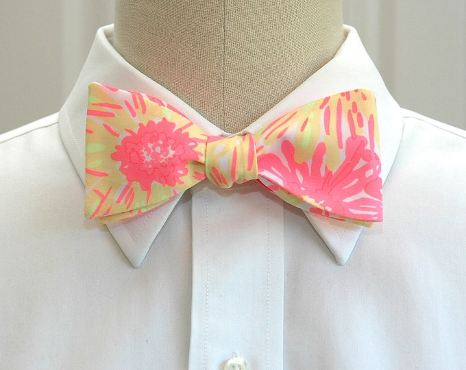 Men's Bow Tie, Sunkissed Glow neon coral and yellow Lilly print, wedding bow tie, groom bow tie, prom bow tie, groomsmen gift, neon bow tie