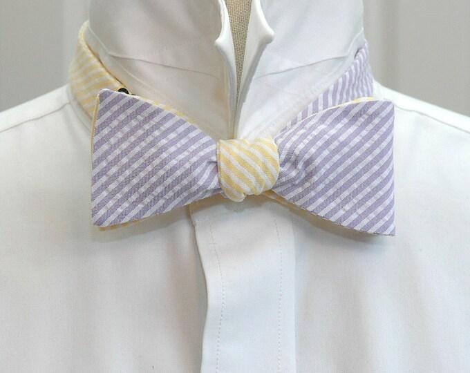 Men's Reversible Bow Tie, lilac & yellow seersucker, wedding party tie, groom bow tie, groomsmen gift, wedding accessory, self tie bow tie